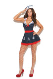 HotSpotLingerie.com 2 pc. Sexy sailor fantasy costume includes dress with attached collar and hat.