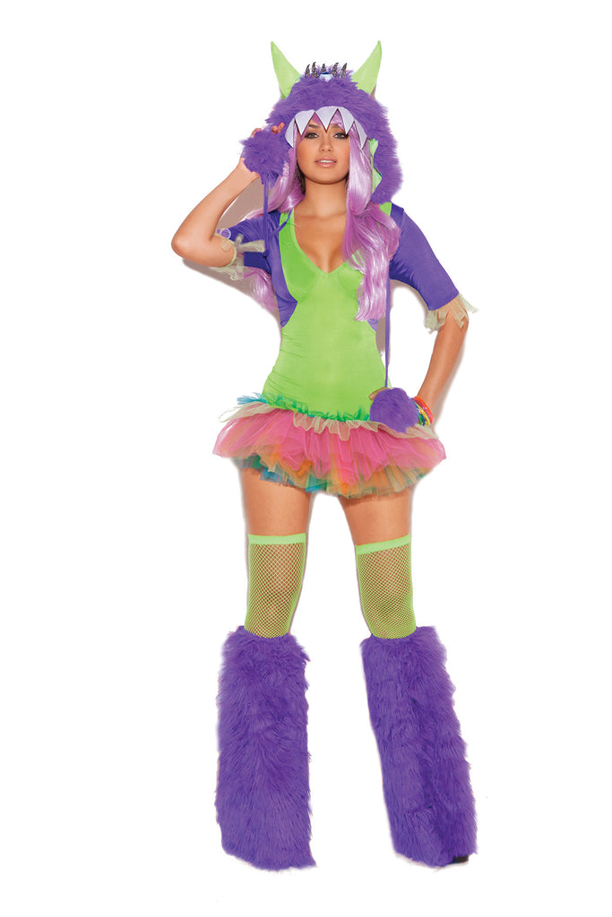 HotSpotLingerie.com 2 pc. Sexy monster costume includes tutu dress and furry monster hood with one eye.