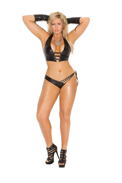 HotSpotLingerie.com 2 piece set. Leather halter cami with stud detailing. Matching side tie panty.