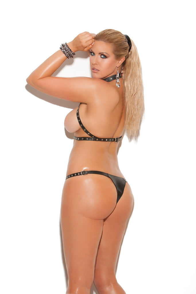 Plus Size Leather Halter Neck Bra Set With Leather Cut Out Thong