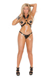 HotSpotLingerie.com 2 piece set. Plus size harness and g-string with square nail heads and O rings.