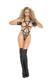 HotSpotLingerie.com Thong back leather strappy teddy with O ring.