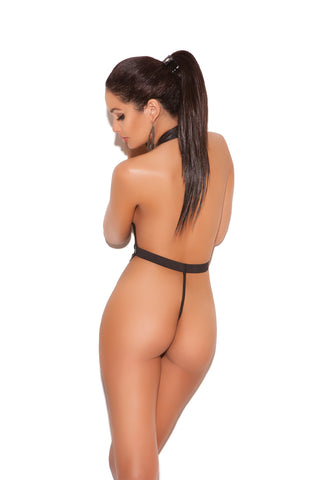 Halter Neck Fishnet Thong Back Teddy