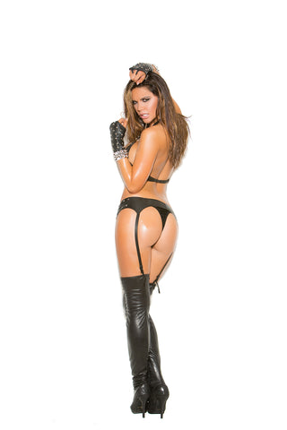 Plus Size Leather Thong With Stud Detail