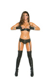 HotSpotLingerie.com Studded leather bra with underwire cups, halter neck and adjustable back closure.