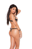 Leather Cut Out Thong With Chain And Stud Trim