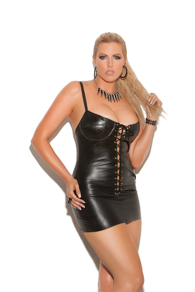 HotSpotLingerie.com Plus size lace up leather mini dress. Adjustable straps and underwire bra. Leather back.