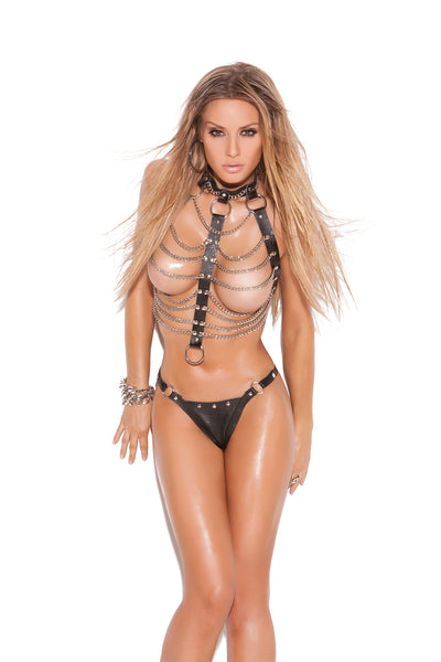 HotSpotLingerie.com 2 piece set. Leather and chain vest with ring detail and matching thong with nail heads and rings.