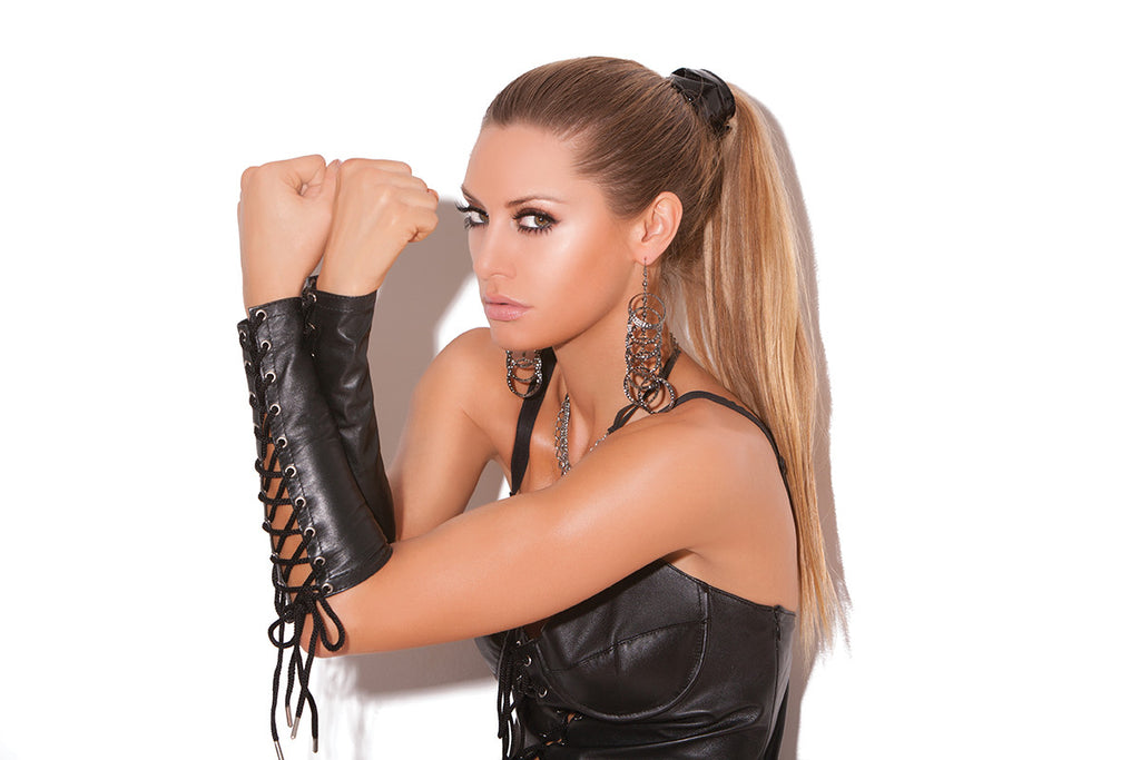 HotSpotLingerie.com Leather lace up gloves.