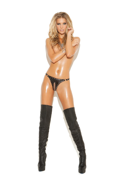 HotSpotLingerie.com Leather cut out thong with chain and stud trim.