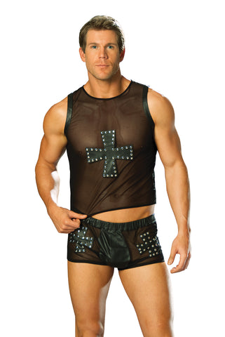HotSpotLingerie.com Leather and mesh shorts with cross and nail head detail.