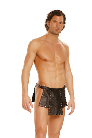 HotSpotLingerie.com Leather kilt with nail heads and adjustable buckle closure.
