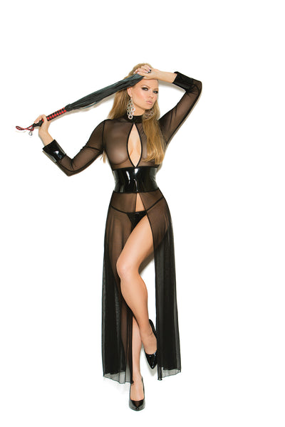 HotSpotLingerie.com Mesh and vinyl long sleeve gown with adjustable hook and eye back closure. Matching g-string included.