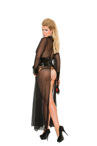 Plus Size Mesh And Vinyl Long Sleeve Gown Set With G-string