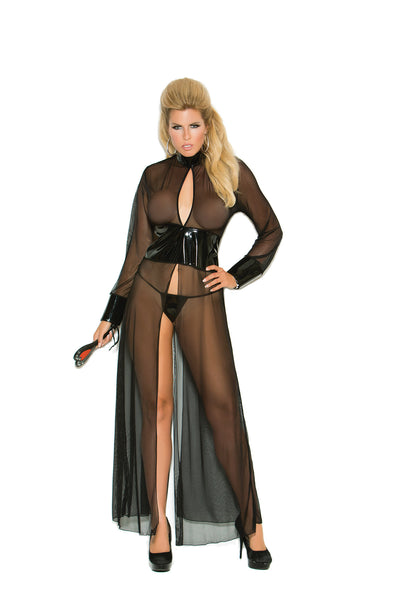HotSpotLingerie.com Plus size mesh and vinyl long sleeve gown with adjustable hook and eye back closure. Matching g-string included.