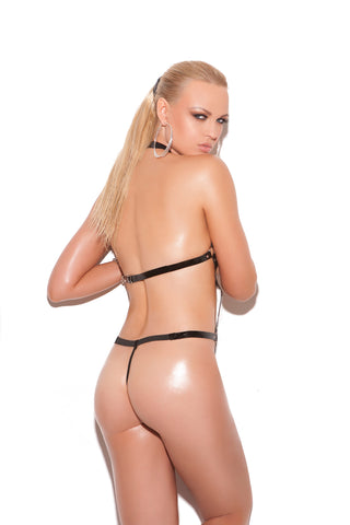 Vinyl Thong Back Strap Teddy With O Rings