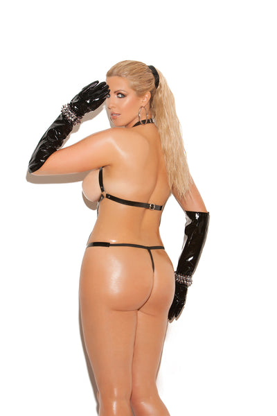 Plus Size Vinyl Thong Back Strap Teddy With O Rings