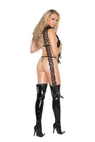 Vinyl And Fishnet Halter Neck String Teddy With Nail Heads