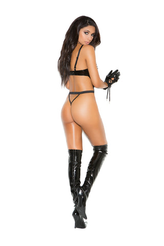 Vinyl Teddy With Lace Up Front And String Back