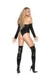Vinyl And Fishnet Teddy Set With Arm Guards