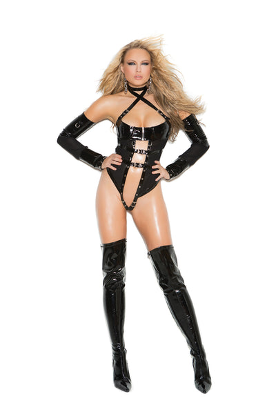HotSpotLingerie.com 2 piece set. Vinyl and fishnet teddy with underwire cups, zipper front, criss cross halter neck, buckle trim and nail heads. Thong back. Matching arm guards included.