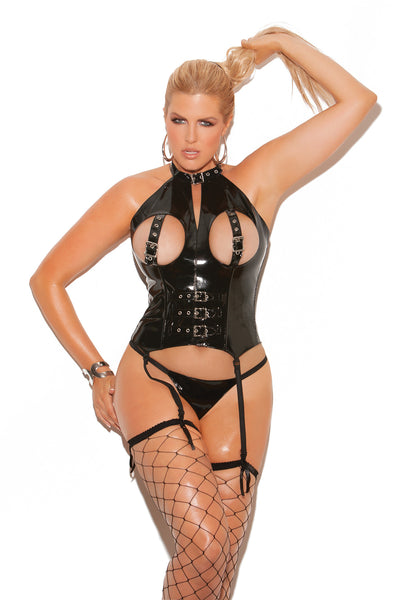 HotSpotLingerie.com Plus size vinyl cupless bustier with buckle detail, boning and back zipper closure. Garters are adjustable and detachable.