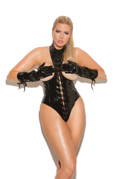 HotSpotLingerie.com Plus size vinyl cupless teddy with lace up front, zipper back closure and open back.