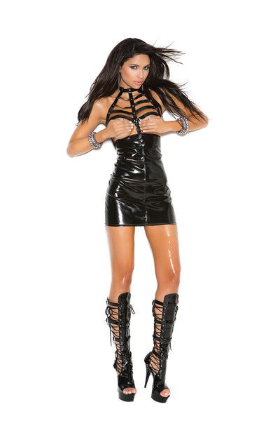 HotSpotLingerie.com Vinyl open bust mini dress with caged neck and zipper back.