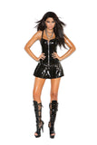 HotSpotLingerie.com Vinyl corset mini dress with zipper front, boning, adjustable straps, pleated skirt and chain detail.