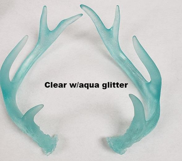 Frosted Glitter Clear Toony Deer Antlers