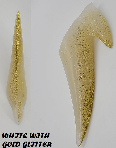 Shiny Solid Clear Glitter 2 Point Horn *Sold Per Horn*