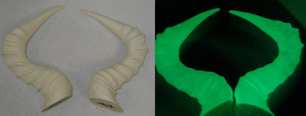 Glow in the Dark Hartebeest Antelope Horns