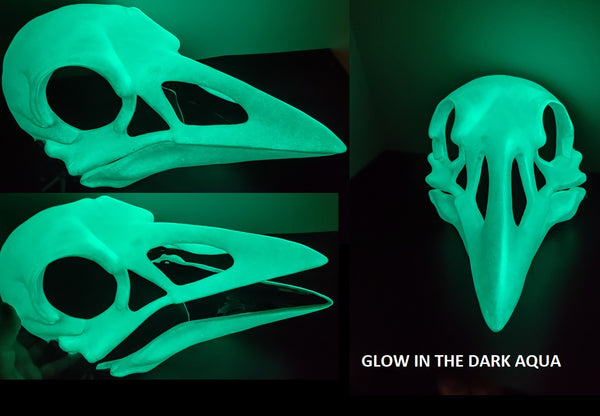 Glow in the Dark Skeletal Crow Cut and Hinged Mask