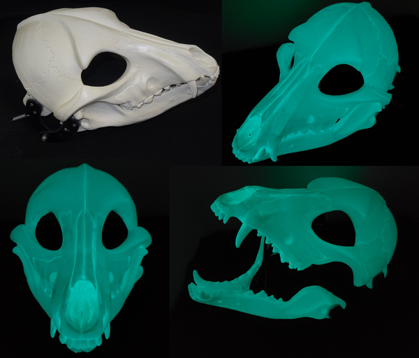Glow in the Dark Skeletal K9 Cut and Hinged Mask