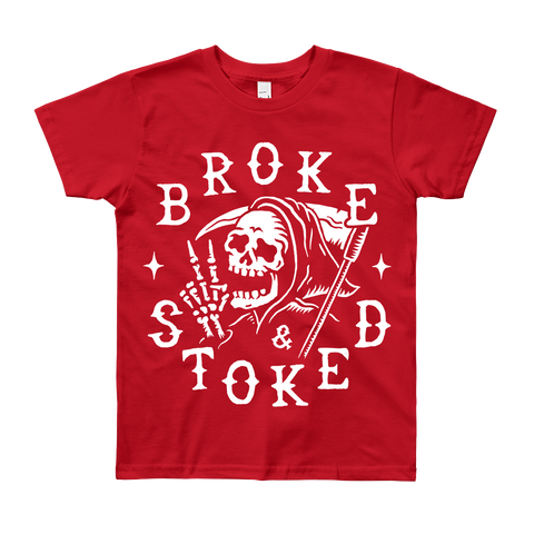 BROKE AND STOKED REAPER - KIDS TEE