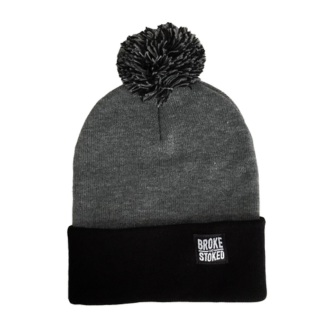Broke And Stoked Black & Grey Beanie