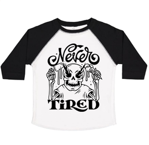 NEVER TIRED - TODDLER BASEBALL TEE