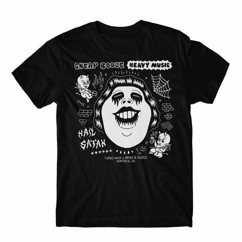 Cheap Booze, Heavy Music, Hail Satan - Turbo Haus Collab Tee PRE-SALE