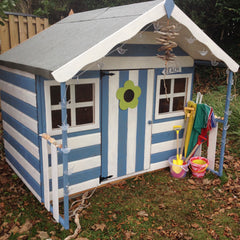 Painted Honeysuckle playhouse blue and white