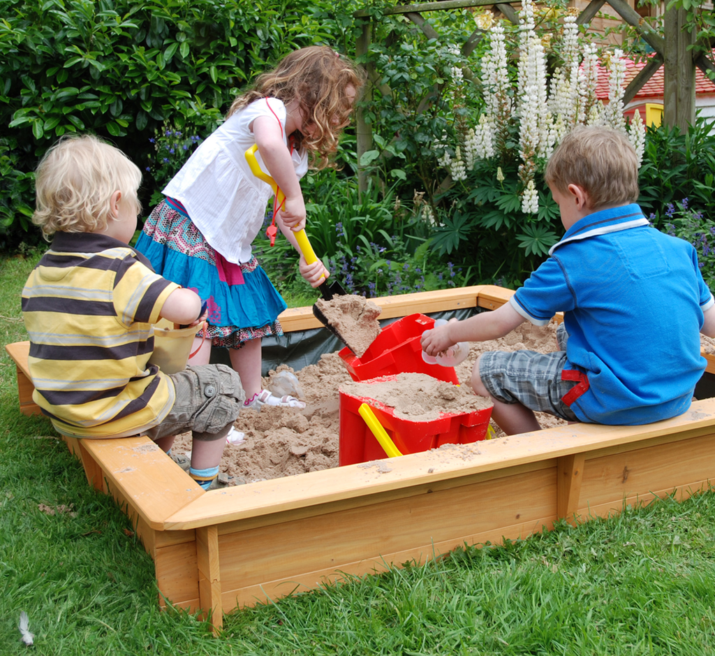 Large Square Wooden Sandpit