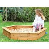 Wooden children's hexagon-shaped sandpit