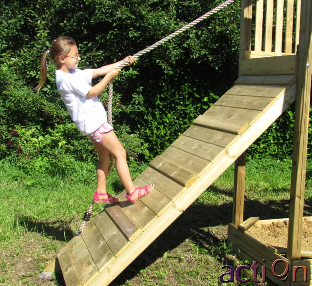 Wooden Climbing Ramp with rope for Action Climbing Frames