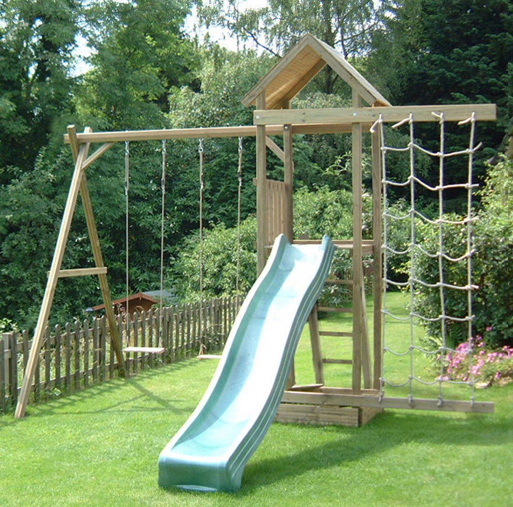 Action Arundel 1.5m Wooden Climbing Frame Tower with Swings, Slide and Sandpit