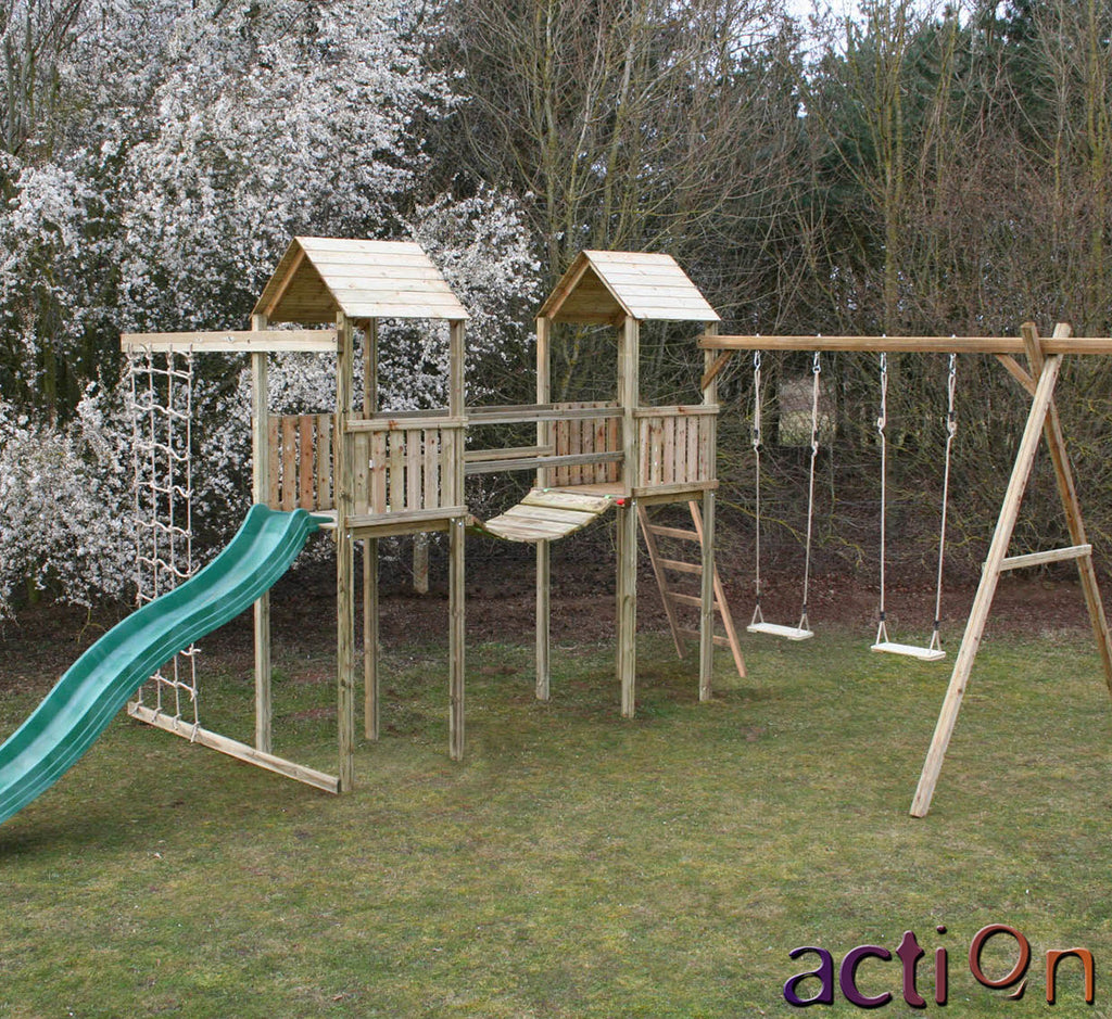 Action Arundel Twin Towers Climbing Frame Compact plus Swing arm