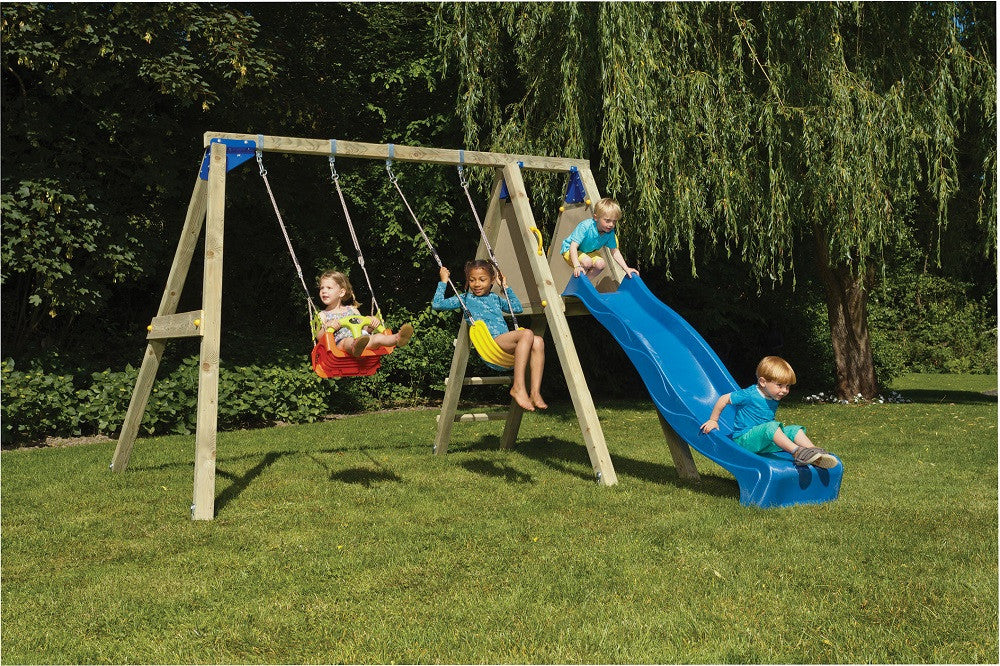 Blue Rabbit Deck Swing with Slide and 2 Swing Seats