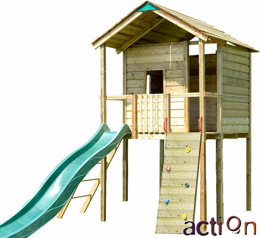Action Gate Lodge 1.5m Wooden Tower with Slide and Sandpit  or Lower Den option (no swing arm)