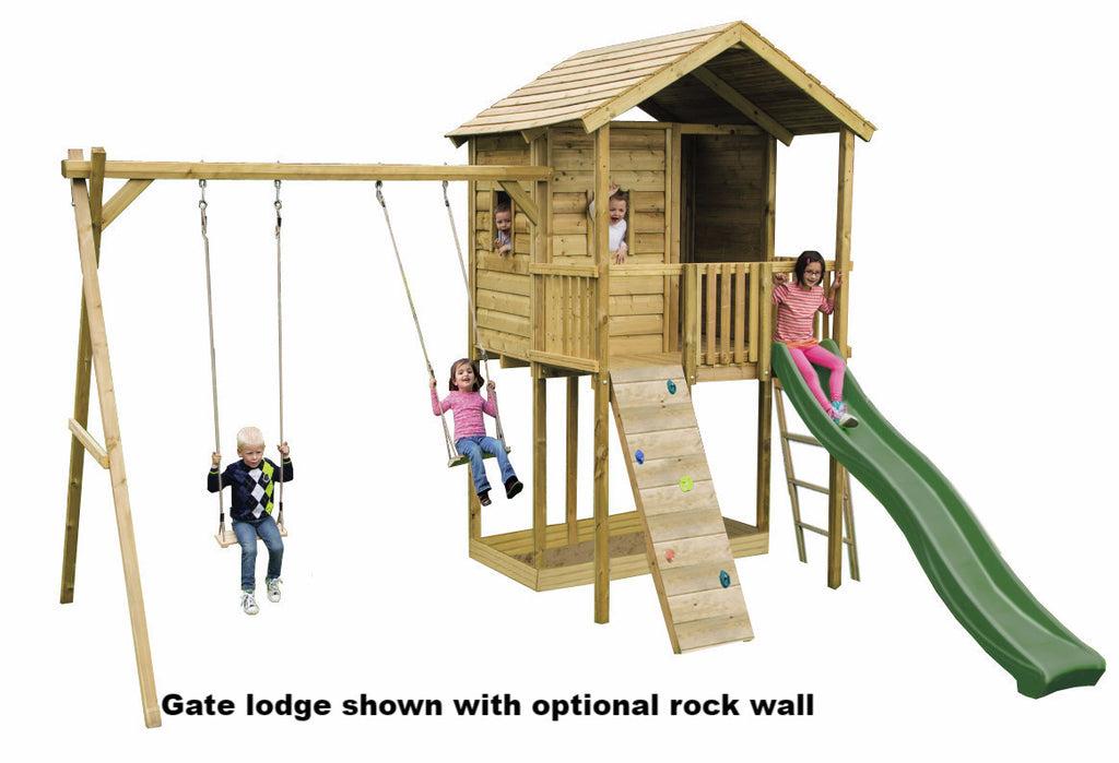 Action Gate Lodge Wooden Climbing Frame, Swing Arm and Swing Seats