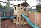 Action Gate Lodge Wooden Climbing Frame with Monkey Bar Swing arm