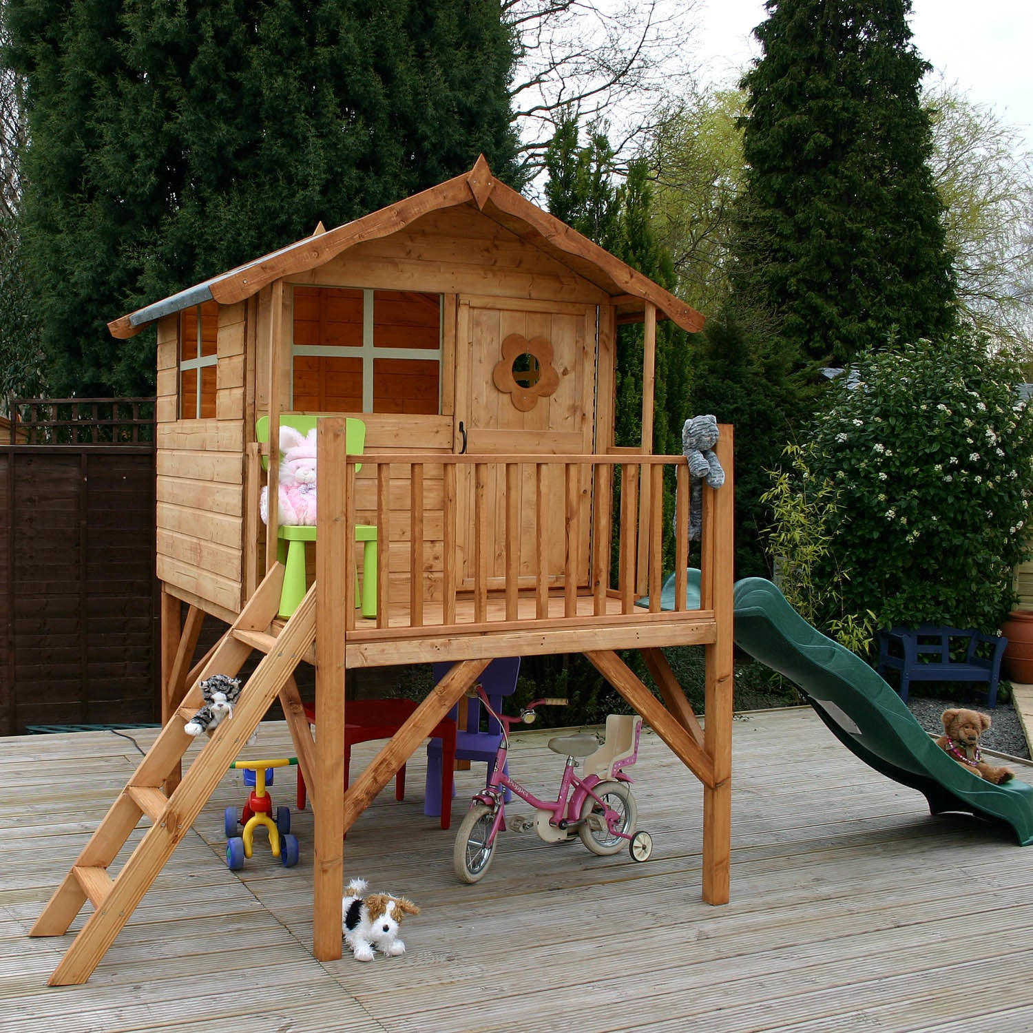 5 X 5 Wooden Tulip Playhouse Tower With Slide