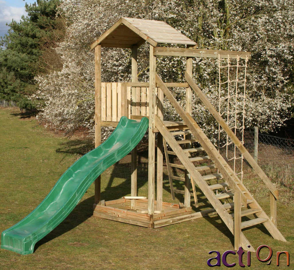Action Monmouth  Climbing Frame with Staircase, Sandpit, and Climbing Net